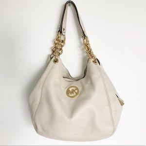 Michael Kors Oyster White and Gold Handbag